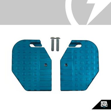 STACYC ACC - EXTENDED FOOTREST CYAN ANODIZED